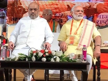 Amit Shah with Narendra Modi at the BJP National Executive meet. Image courtesy: Facebook/@BJP4India