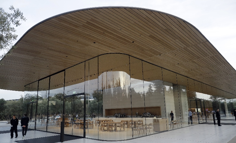 An exterior view of Apple's new visitor center. Image: AP Photo.