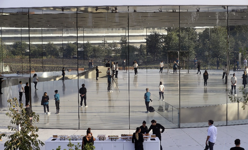 The area around the Steve Jobs Theater is spacious and grand. Image: AP Photo