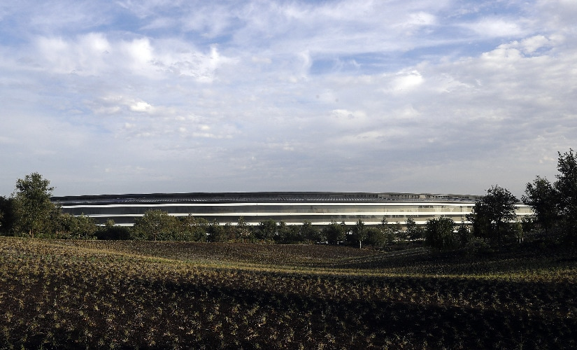 The new Apple campus is seen early Tuesday. Image: AP Photo.