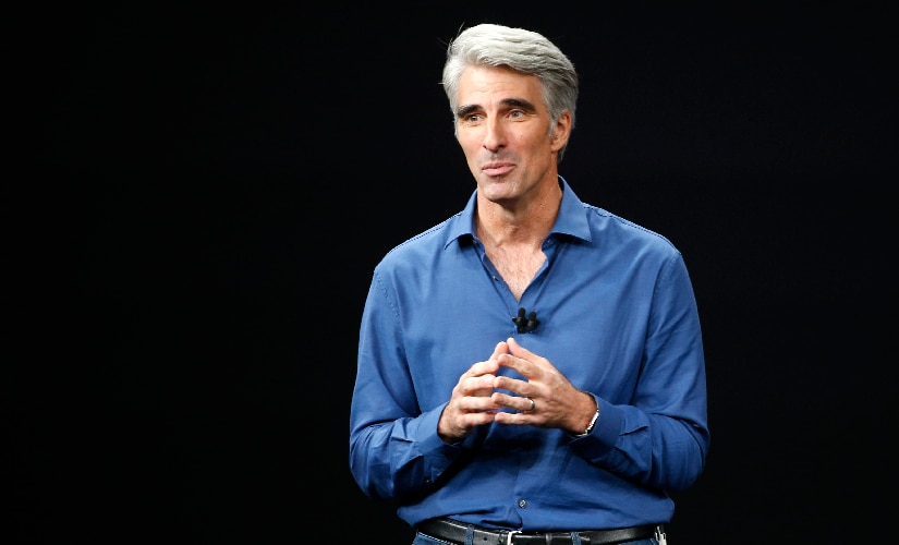 Apple Senior Vice President of Software Engineering, Craig Federighi on stage introducing Animojis to the world. Image: Reuters