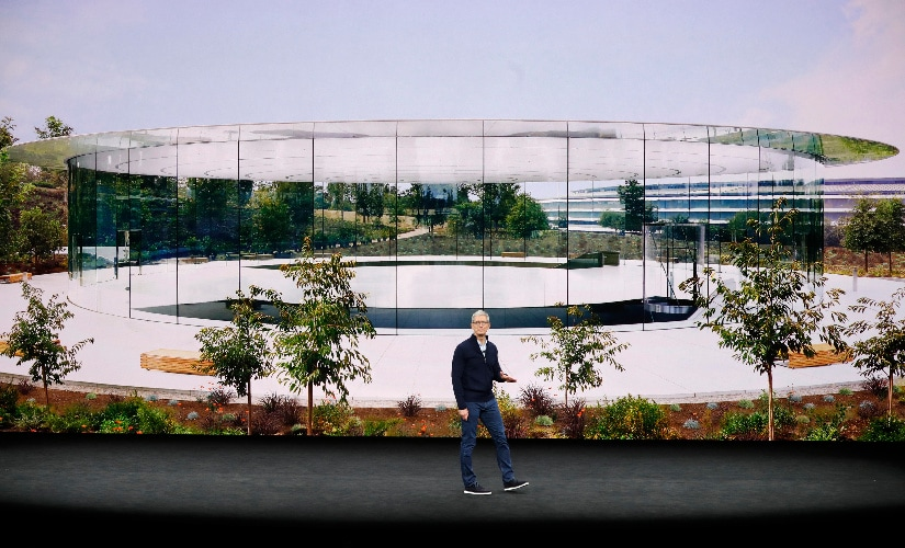 Tim Cook, CEO of Apple showed images of the Apple Park Campus and Steve Jobs Exhibition area during a product launch event in Cupertino, California. Image: Reuters