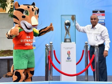 Goa sports minister Manohar Azgaonkar unveils the FIFA U-17 World Cup trophy in Margao. Image credit: Twitter/@IndianFootball