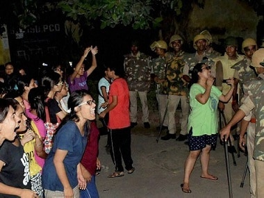 File image of Female students and police in a standoff in Varanasi. PTI