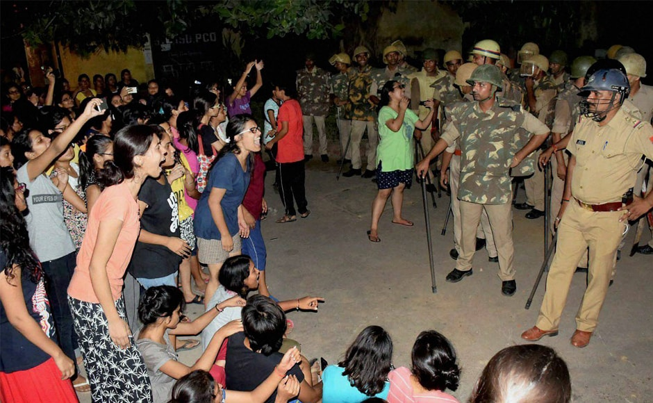 Students' protest at Benaras Hindu University (BHU) against the increasing incidents of eve-teasing inside the campus turned violent on Saturday night as a group of protesting students trying to enter the vice-chancellor's residence clashed with the police. PTI