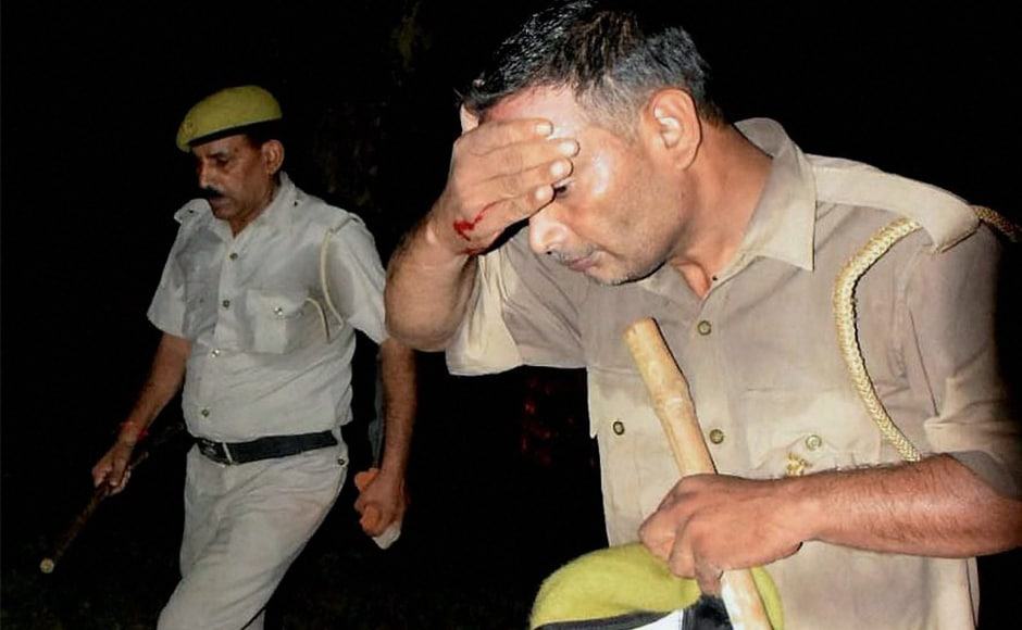 An injured policeman after clashes between the students and police at Banaras Hindu University in Varanasi, late Saturday night. BHU vice-chancellor Girish Chandra Tripathi blamed people from outside the university for the violence. PTI