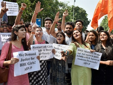 ABVP members shout slogans during a protest in support of Banaras Hindu University (BHU) girls' agitation, outside HRD Ministry in New Delhi on Monday. PTI