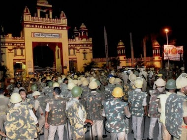Heavy police personnel deployed at Banaras Hindu University where students were holding a protest. PTI