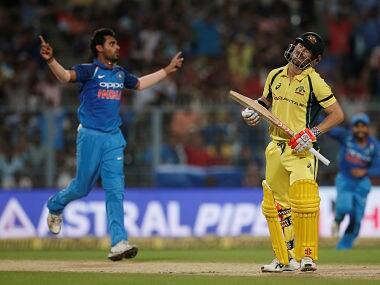 Australia's David Warner reacts after being dismissed by India's Bhuvneshwar Kumar. Reuters