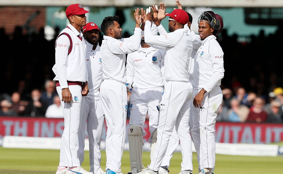 Devendra Bishoo was the only West Indies bowler to pick a wicket during England's chase in the 2nd innings, he trapped Alastair Cook leg before wicket for 17. AP