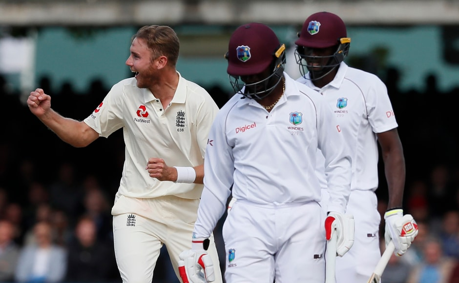 Stuart Broad supported his fast bowling partner well by claiming an important wicket of West Indies' captain Jason Holder. AP
