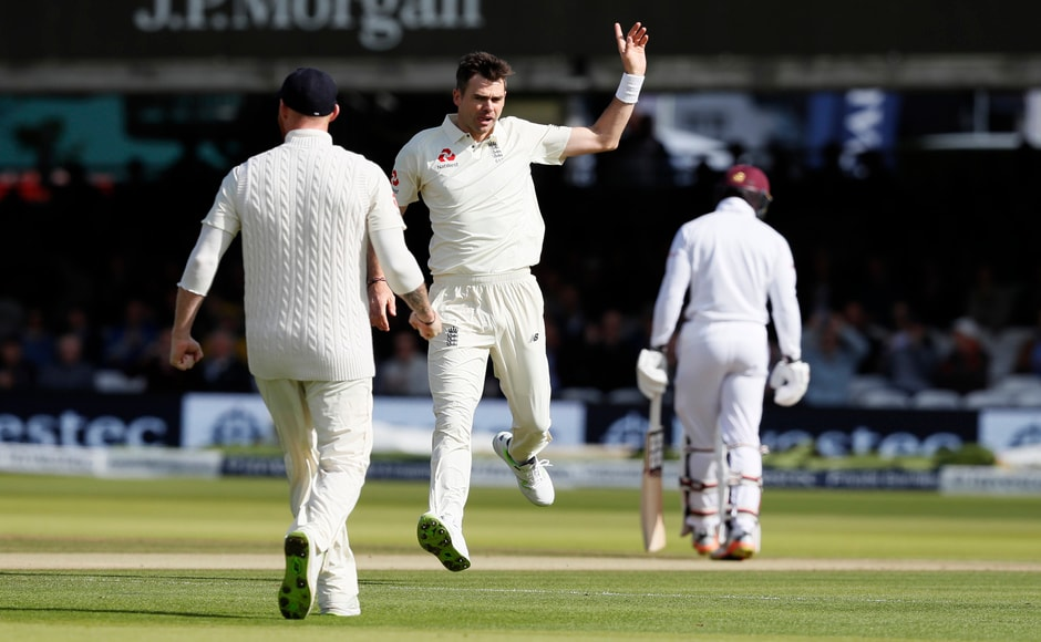 James Anderson started the procession on Day 3 as he delivered a peach to send West Indies' Roston Chase packing on the fourth ball of the morning. AP