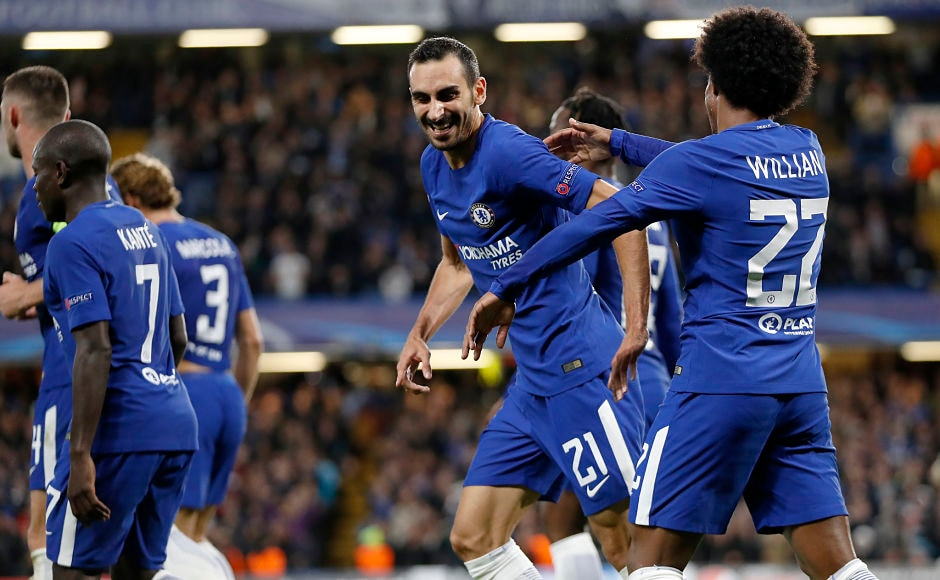 Davide Zappacosta (21) scored in his first start for Chelsea from a cross against Qarabag. The Italian also assisted Mitchy Batshuayi's second goal. AP