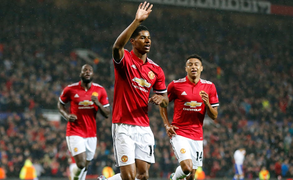 Marcus Rashford scored on his Champions League debut after goals from Marouane Fellaini and Romelu Lukaku had given Manchester United the lead against FC Basel. AP