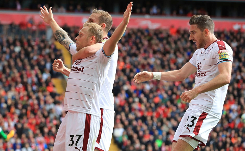 Scott Arfield gave Burnley a shock lead over Liverpool at Anfield. AP