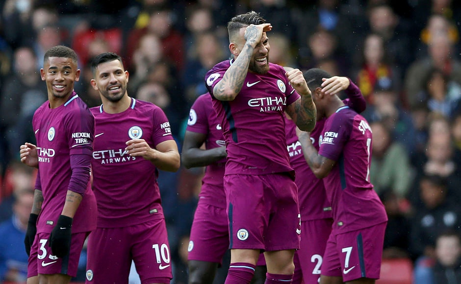 Nicolas Otamendi and Gabriel Jesus too scored for City before Raheem Sterling won and converted a penalty to confirm the three points for City. AP