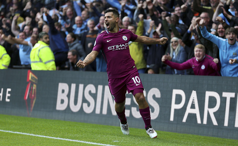Sergio Aguero scored his 10th hat-trick for Manchester City as they beat Watford 6-0 on Saturday. AP
