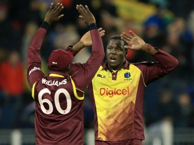 Carlos Brathwaite was the hero with the ball for West Indies who beat England in the one-off T20I. AFP
