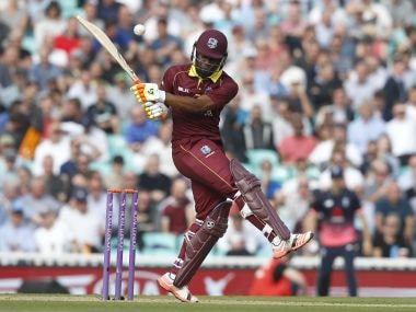West Indies' Evin Lewis plays a shot for four off on Wednesday. AP
