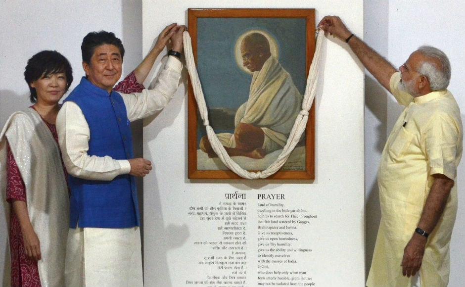 They then visited the 'Hriday Kunj', the room where Gandhi lived, and had their photographs clicked with the freedom fighter's legendary charkha (spinning wheel). PTI