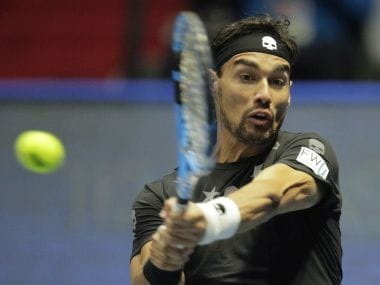 Fabio Fognini of Italy returns the ball to Ricardas Berankis of Lithuania during the St. Petersburg Open ATP tennis tournament quarter final match in St.Petersburg, Russia, Friday, Sept. 22, 2017. (AP Photo/Dmitri Lovetsky)