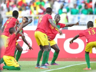 Guinea players celebrate a goal during the 2017 U-17 Africa Cup of Nations Finals. Image coutesy: CAFonline