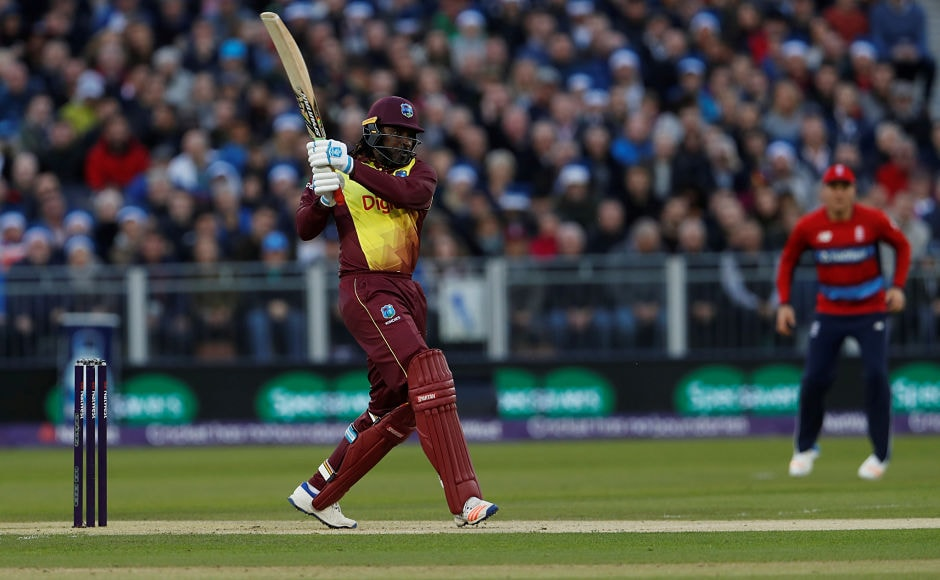 Windies opener Chris Gayle took the attack to England as he smacked three boundaries and four sixes in his 40-run knock. Reuters