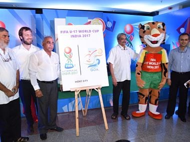 Goa chief minister Manohar Parrikar launched the Goa logo for the upcoming 2017 FIFA U-17 World Cup. Image courtesy: Twitter @manoharparrikar