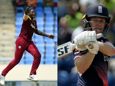 File image of West Indies' captain Jason Holder and England skipper Eoin Morgan. AFP