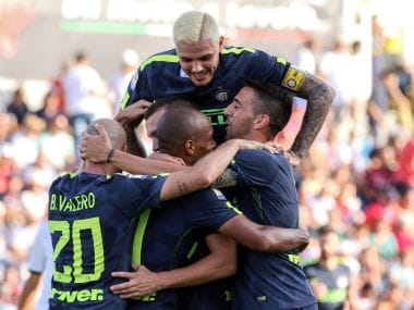 Inter Milan players celebrate Ivan Perisic's goal against Crotone on Saturday. AP