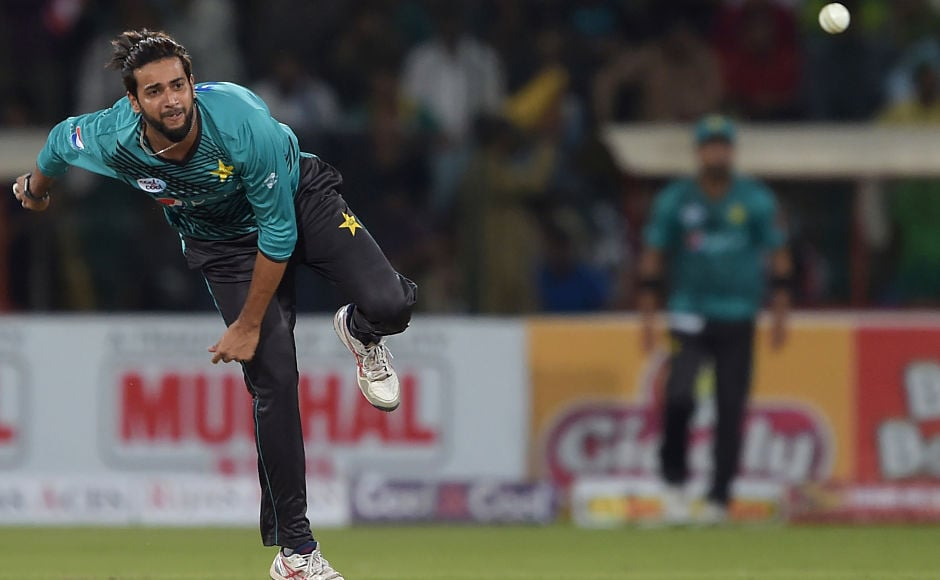 Pakistani spinner Imad Wasim bowled an economical spell and snared a wicket. He conceded 27 runs in his four overs. AFP