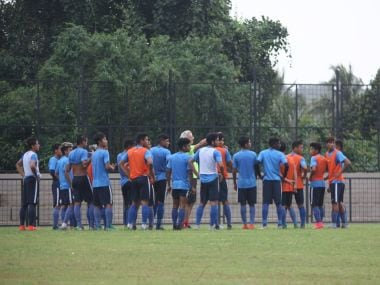 The Indian U-17 football team at a practice session. Image courtesy: AIFF