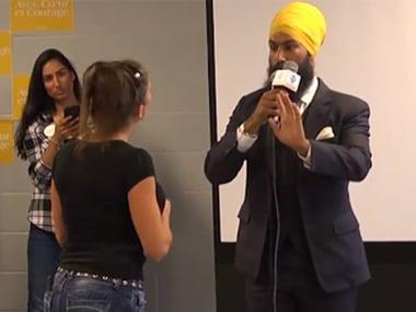Screenshot of the exchange between Jagmeet Singh and the woman. Facebook/ Brampton Focus