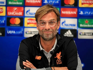 Liverpool's manager Jurgen Klopp reacts during the press conference at Anfield in Liverpool. AP