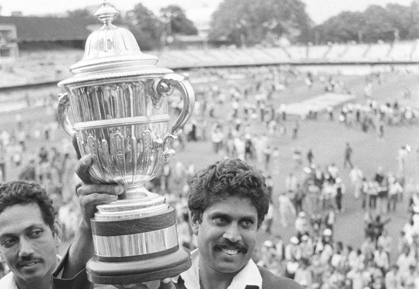 Kapil Dev holds aloft the World Cup after beating the West Indies. Getty Images