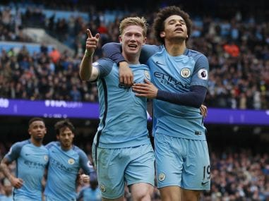 File photo of Manchester City's Kevin De Bruyne with Leroy Sane. Reuters