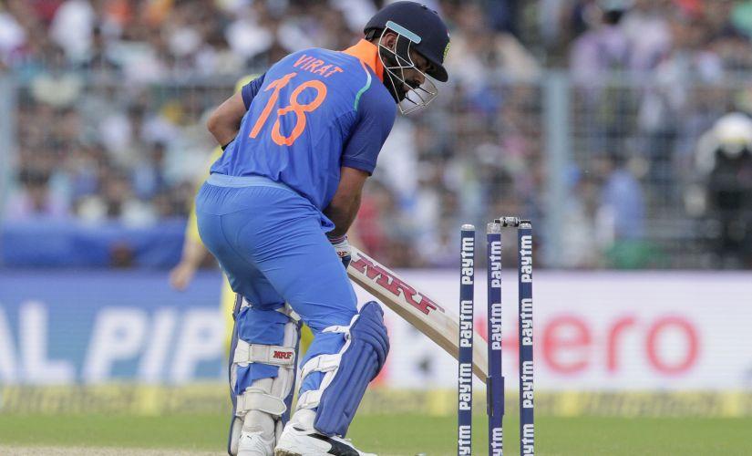India's Virat Kohli looks back as he bowled out during the second one-day international cricket match against Australia at Eden Gardens in Kolkata, India, Thursday, Sept. 21, 2017. (AP Photo/Bikas Das)