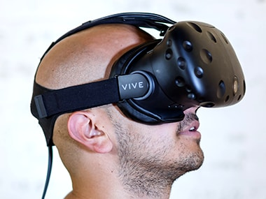 A man trying a VR headset