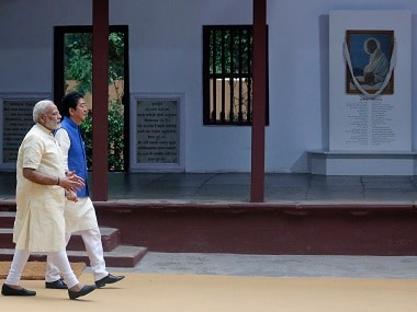 Shinzo Abe and Narendra Modi visit Sabarmati Ashram on Thursday. AP