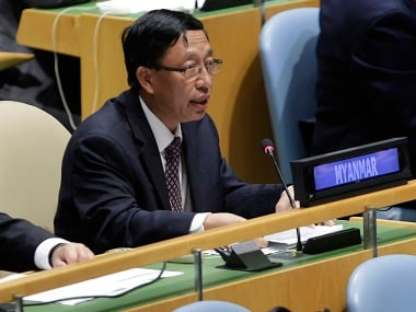 UN ambassador Hau Do Suan of Myanmar exercising his right of reply in the United Nations General Assembly. AP