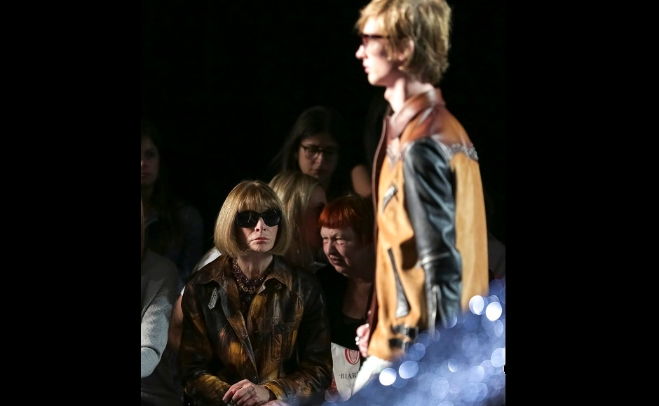 Vogue editor Anna Wintour attended the event, wearing her signature dark glasses. Image from AP.