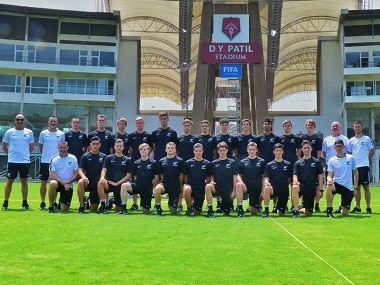 The New Zealand team pose at the Dr DY Patil Stadium in Navi Mumbai