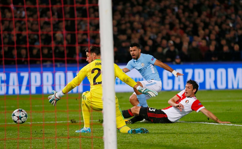 Sergio Aguero scored as Manchester City beat Feyenoord 4-0. AP