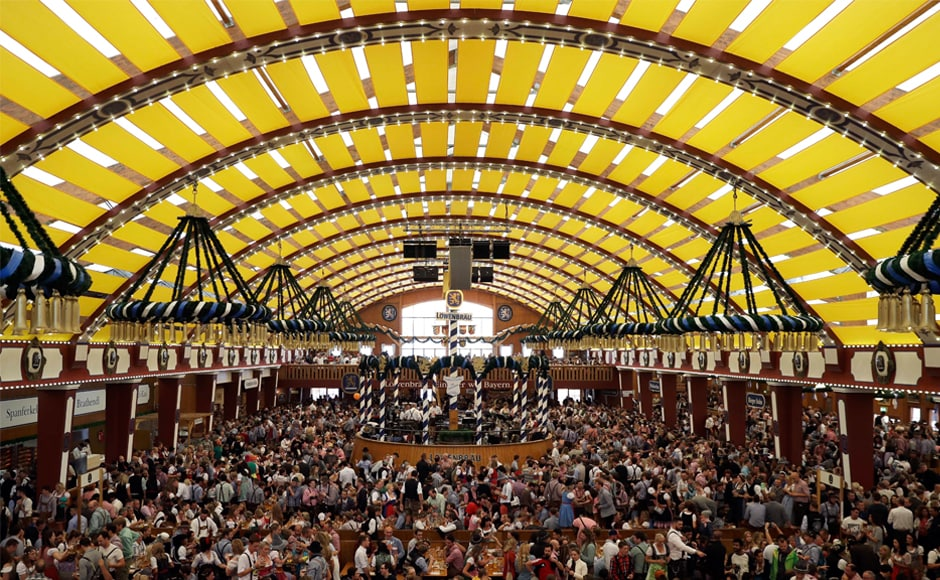 There are 14 different beer tents or stalls, like this one, with a capacity of holding 10,000 people each at Oktoberfest in Munich. AP