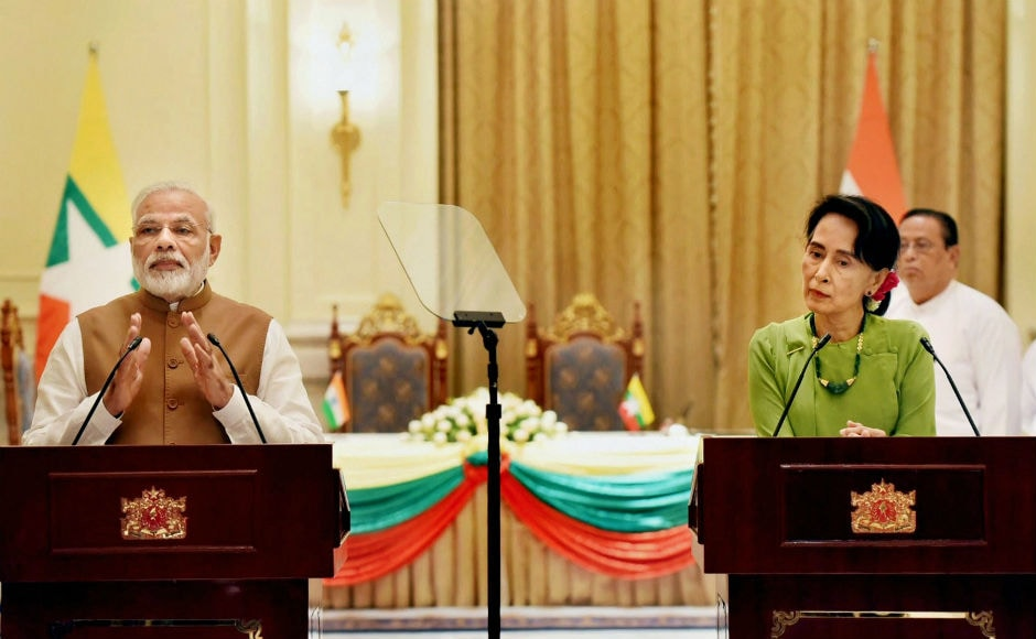 """Modi expressed his concern over """"extremist violence"""" in Myanmar's Rakhine and """"violence against security forces"""". He also praised Suu Kyi's """"leadership"""