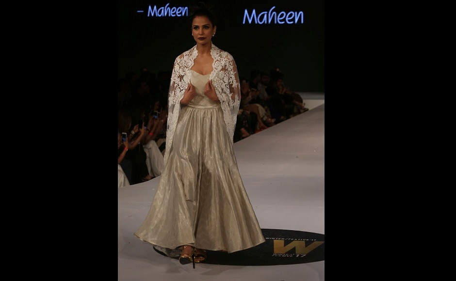 Another stunning creation by designer Maheen Khan during the Pakistan Spring/Summer 2017 Fashion Show Week in Karachi, Pakistan. Image courtesy: AP/Shakil Adil