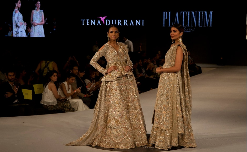 Tena Durrani's ornate designs and the use of intricate embroidery stunned everyone during the Pakistan Spring/Summer 2017 Fashion Show Week in Karachi, Pakistan. Image courtesy: AP/Shakil Adil