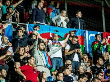 Fans of Qarabag during their Champions League play-off match against FC Copenhagen. REUTERS