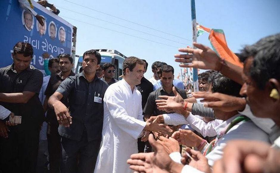 Gandhi, travelling in a specially-designed bus, sought to connect with villagers by interacting with them at regular intervals. Firstpost/ Darshan Desai
