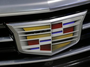 A Cadillac logo is seen at the 2017 New York International Auto Show. Reuters